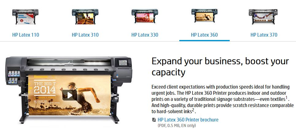 HP Latex Family of Printers